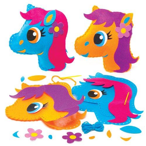 Kits de costura de cojines de ponis que los niños pueden crear, decorar y exhibir - Juego de manualidades creativas para niños (pack de 2).