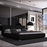 Sedex Bett Luna 140/200 cm/Doppelbett / Polsterbett/Designerbett / Ehebett/Hotelbett / Kunstleder - schwarz