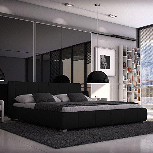 Sedex Luna Bett 180x200cm / Polsterbett/Designerbett / Kunstleder - schwarz