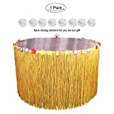 Aytai 108inch x 30inch Grass Table Skirt with Hibiscus Leis Flower and Strong Sticker for Hawaiian Luau Birthday Wedding Tiki Party Decoration (Grass yellow)