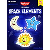 EduQuest - Jigsaw Puzzle - Space Elements - 2-4 Years Old - Set Of 3 Puzzles - 2,3,4 Piece Puzzles - Moon (2 Pieces), Star (3 Pieces), Sun (4 Pieces)