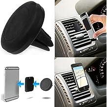Theoutlettablet® Soporte Rejilla Universal para rejillas de ventilación aire del coche , soporte magnético montaje sostenedor (Negro) para Smartphone Xiaomi Mi4c