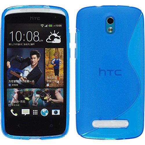 PhoneNatic Case für HTC Desire 500 Hülle Silikon blau S-Style Cover Desire 500 Tasche + 2 Schutzfolien