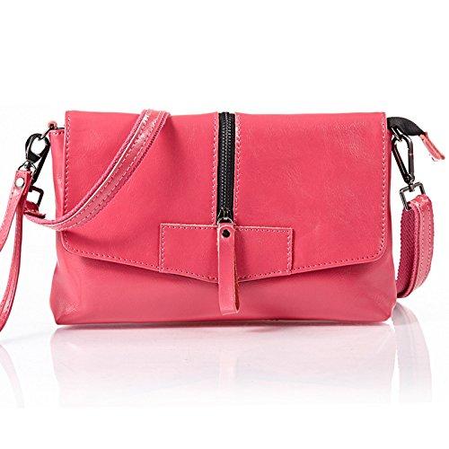 Mefly Leder Tasche Für Damen Obliquer Querschnitt Tasche Rose red