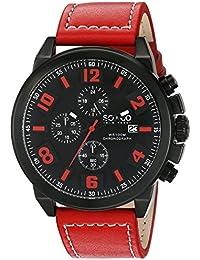 So y Co para hombre de Nueva York Monticello reloj infantil de cuarzo con esfera analógica y rojo correa de piel 5212,5