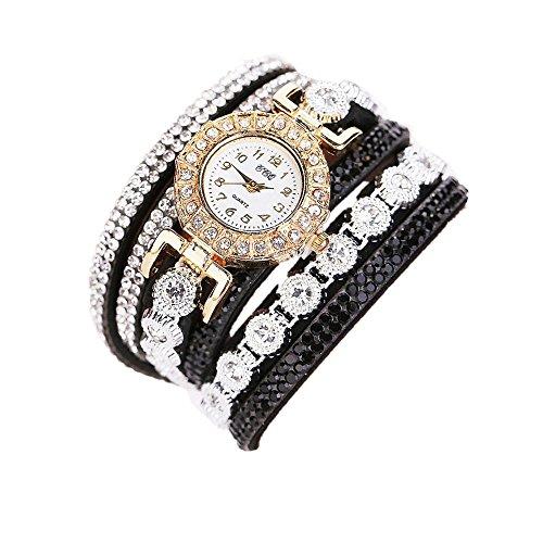Schöne Mode Design Strass Armband für Weibliche (Black) ()