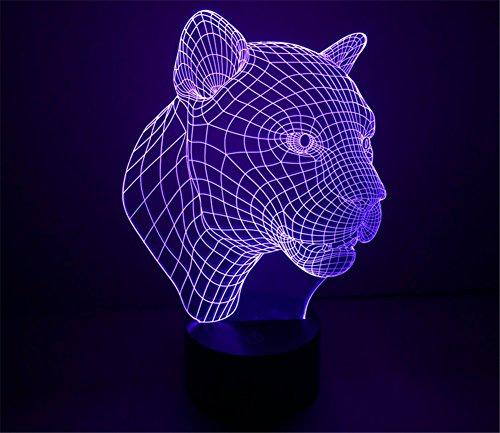Leopard-taste (SmartEra® 3D optische Täuschung Leopard Kopf Sieben Farben ändern USB Touch Taste LED Schreibtischlampe)