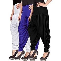 Navyataa Womens Lycra Dhoti Pants For Women Patiyala Dhoti Lycra Salwar Pant Free Size (Pack Of 3) White , Blue & Black