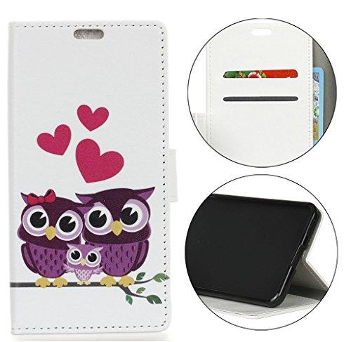 Sunrive Hülle Für Wiko Tommy 3, Magnetisch Schaltfläche Ledertasche Schutzhülle Case Handyhülle Schalen Handy Tasche Lederhülle(Muster Eule 1)+Gratis Universal Eingabestift