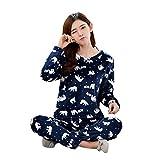 YOUJIA Motif Ensemble de pyjama très doux pour femme Flanelle Pull Pantalon Chaud Manches Longues Hauts de pyjama (Marine Bear, CN M)