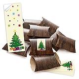 100 kleine Geschenkschachteln Holzoptik braun mit Aufkleber Banderole Christbaum mit bunten Flocken; selber basteln und befüllen; Schachtel 14,5 x 10,5 cm (+ 3 cm Höhe)