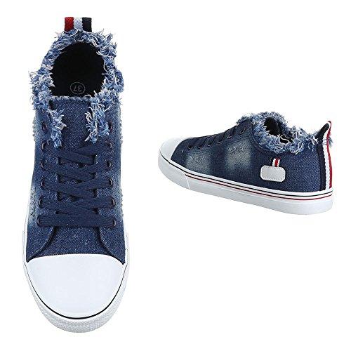 Low-Top Sneaker Damenschuhe Low-Top Sneakers Schnürsenkel Ital-Design Freizeitschuhe Dunkelblau