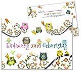 8 Einladungskarten lustige Eulen Kindergeburtstag Geburtstagsparty Kind Mädchen Jungs Karten Feier 8er Set