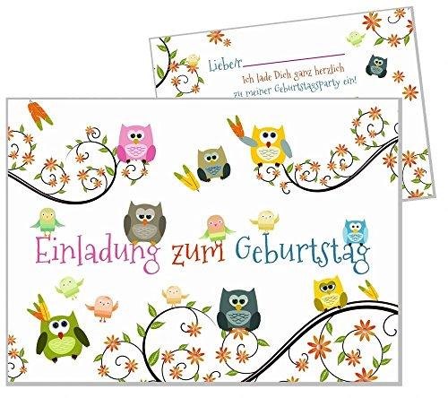 8 Einladungskarten lustige Eulen Kindergeburtstag Geburtstagsparty Kind Mädchen Jungs Karten Feier 8er Set (1. Geburtstags-einladungen-mädchen)