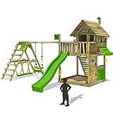 FATMOOSE Baumhaus GroovyGarden Combo XXL Kletterturm Spielturm mit Spielhaus auf Podest mit Fenstern, Holzdach, großem Sandkasten, Kletterwand, Rutsche, Schaukel und Surfanbau