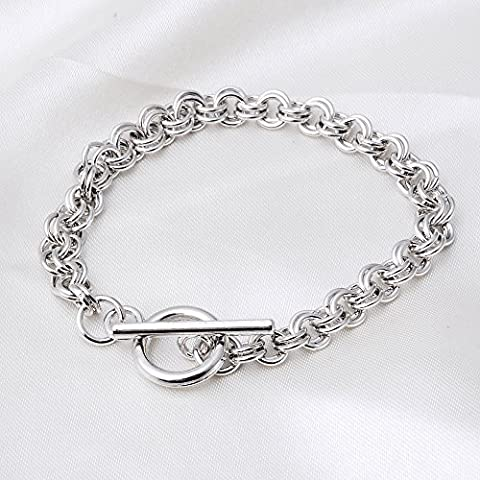 RUBYCA 20Pcs Toggle Clasp Silver Color Charm Rolo Bracelet Double Long Link Chain 20cm DIY Jewelry