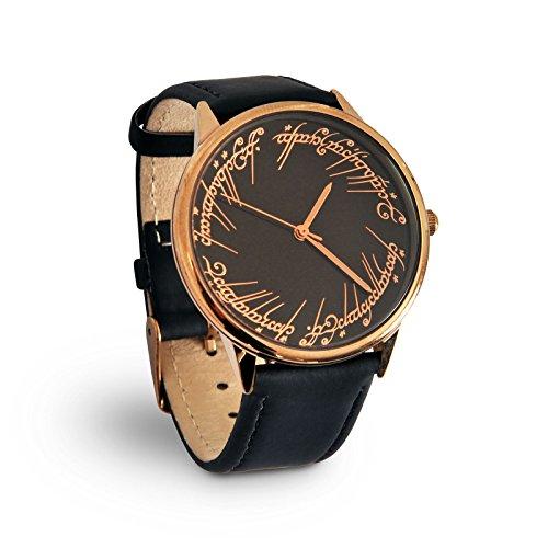 Preisvergleich Produktbild Herr der Ringe Armband Uhr Herren Der Eine Ring Elbenwald Lederarmband schwarz