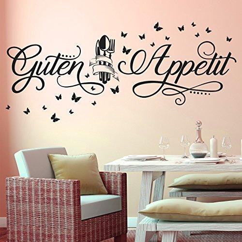 Wandtattoo Guten Appetit mit Schmetterlingen | Küche Esszimmer Essen Wandsticker Türkis 054 72 x 31 cm (Schleife 036)
