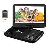10.5' tragbarer DVD Player, 3000mAh 5 Stunden Akku, drehbares HD Display, Videogeräte für Kopfstützen von DR.Q, multi Medienformaten Unterstützung, unterstützt SD Karte und USB, Schwarz.