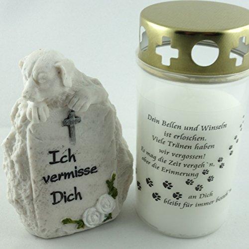 Hundegrab Set Gedenkstein mit Gedenklicht. 1 Stück Trauerlicht mit Gedenkspruch inklusive 1 Stück Hunde Deko Stein
