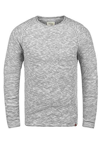 Blend Bagger Herren Strickpullover Feinstrick Pullover Mit Rundhals Und Brusttasche Aus 100% Baumwolle, Größe:M, Farbe:Stone Mix (70813) -