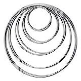 10 Pezzi Acchiappasogni Anelli di Metallo Cerchio per Dream Catcher, 5 Taglie (Argento)