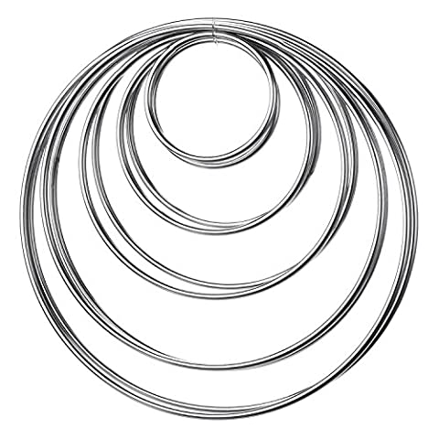 eBoot 10 Pieces Metal Rings Metal Hoops for Dream Catcher, 5 Sizes (Silver)