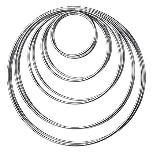 10 Stück Metall Ringe Metall Hoops für Traumfänger, 5 Größen (Silbern)