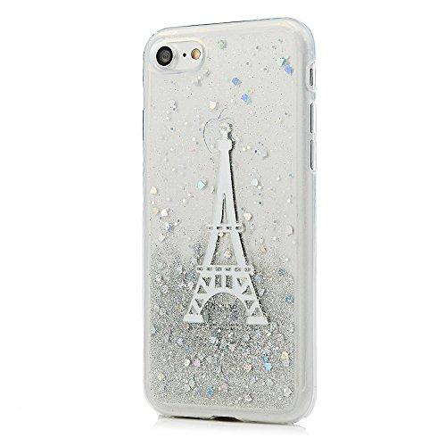 MAXFE.CO Schutzhülle Tasche Case für iPhone 7/iPhone 8 TPU Silikon Cover Glitzern Etui Protective Schale Bumper Eiffelturm Eiffelturm