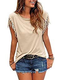 Mujer Verano Color Puro Casual Blusa Borla Nudo Funda Tank Tops T Shirt