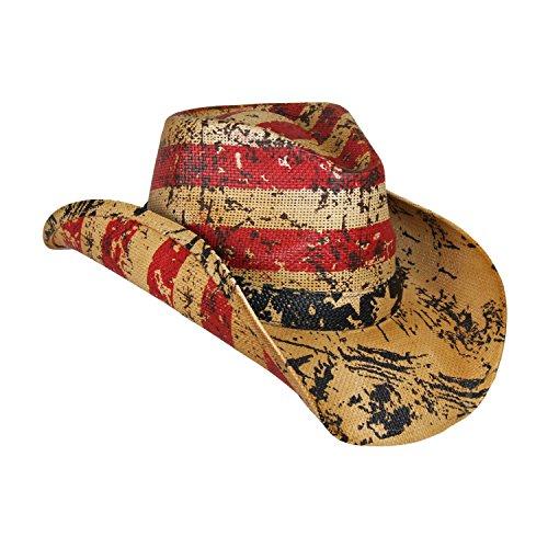 scher Tee befleckte Cowboyhut, Jahrgang Straw USA Cowboy-Hut mit Stars & Stripes X Groß Rot Weiß Blau ()
