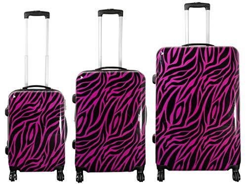 Polycarbonat-Kofferset 3tlg Zebra Größe S+M+L-Pink