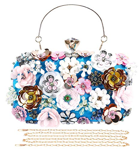 Selighting Clutches Abendtasche für Damen, bunt, Blumenmuster, Blau (blau), Einheitsgröße -