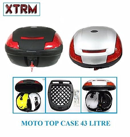 moto TOP CASE XTRM 43 litres moto Scooter universel touring Coffre à bagages pour 2 casques cas arrière - noir - One