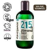 Naissance Huile d'Amande Douce BIO (n° 215) Pressée à froid - 250ml - 100% pure et certifiée BIO, végan, sans OGM - parfaite pour les massages, le soin des cheveux et de la peau