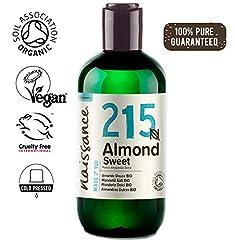 Idea Regalo - Naissance Mandorle Dolci Certificato Biologico Puro 250ml - Vegan, senza OGM - Ideale per la cura della Pelle e dei Capelli, l'Aromaterapia e come olio da Massaggio di base
