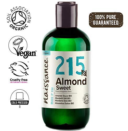 Naissance Mandelöl süß BIO (Nr. 215) 250ml – 100{28635192ea99032a39431aab593b36833728c96933138ca8f786f5fd4fbef832} rein & natürlich, BIO zertifiziert, kaltgepresst, vegan, hexanfrei, gentechnikfrei Ideal für Massagen, Haut- und Haarpflege.