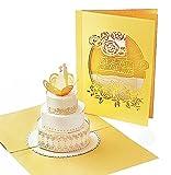 Stilvolle Hochzeitskarte mit extra Seite für Grüße - einzige 3-seitige Glückwunschkarte zur Hochzeit - hochwertige 3D Pop-Up Karte als Hochzeits-Geschenk