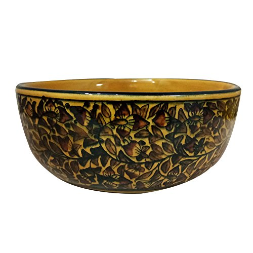 Handmade Decorated Khurja Pottery Ceramic Multi Purpose Serving/Storage Bowls Use for Serving Snacks, Nut, Fruits & Desserts Qty-1 Made by Indian Rural Awarded Artisans