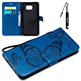 Galaxy S6 Edge Plus Hülle, Embossed Schmetterling Brieftasche Schutzhülle Compatible für Samsung Galaxy S6 Edge Plus HandyHülle Flip Wallet Case Tasche Klapphülle Kartenfächer Magnetverschluss -Blau