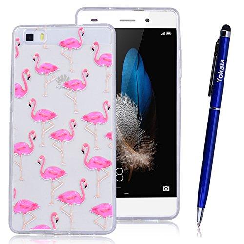 Yokata Huawei P8 Lite Hülle Transparent Weich Silikon TPU Case Handyhülle Schutzhülle Durchsichtig Clear Backcover Bumper mit Flamingos Muster + 1 x Kapazitive Feder