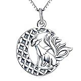 Silver Mountain 925 Sterling Silber Fuchs Mond Anhänger Kette Halskette Jahrgang Schmuck
