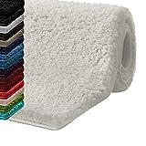 casa pura Badematte Hochflor Sky Soft | Weicher, Flauschiger Badezimmerteppich in Shaggy-Optik | Badvorleger Rutschfest waschbar | Öko-Tex 100 Zertifiziert | 16 Farben in 6 Größen (80x150 cm, Creme)