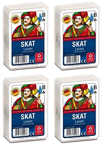 Ass Altenburger 22570006 Leinenprägung französisches Bild Skat Spielekarten, Bunt, 59 x 91 mm
