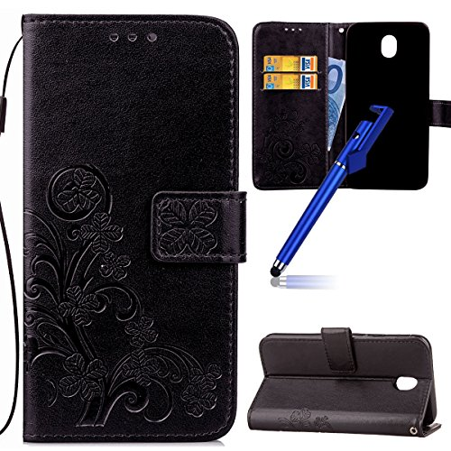 Custodia per Samsung J5 2017 (Versione europea), Galaxy J5 2017 (Versione europea) Cover a libro, iphone X Cover Flip, MoreChioce Lusso Bookstyle Flip PU Pelle Cover Moda Design Modello Gatti e alberi Lucky Clover-Nero