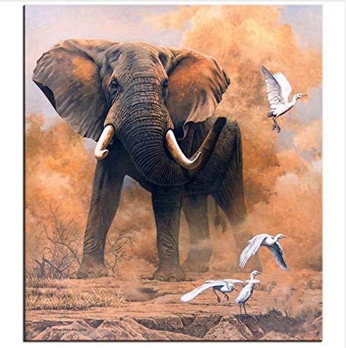 WACYDSD Puzzle 1000 Piezas Elefante Pájaro Blanco Rompecabezas Clásico DIY Kit De Juguete De Madera Decoración para El Hogar