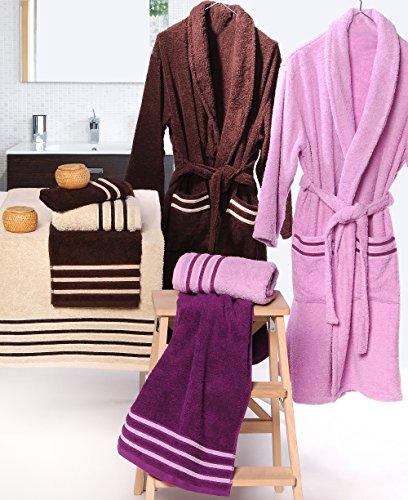 Atenas Home Textile Altea–Accappatoio di spugna, taglia M, 100% cotone, 320g/m², colore: beige/marrone L marrone e beige verde pistacchio