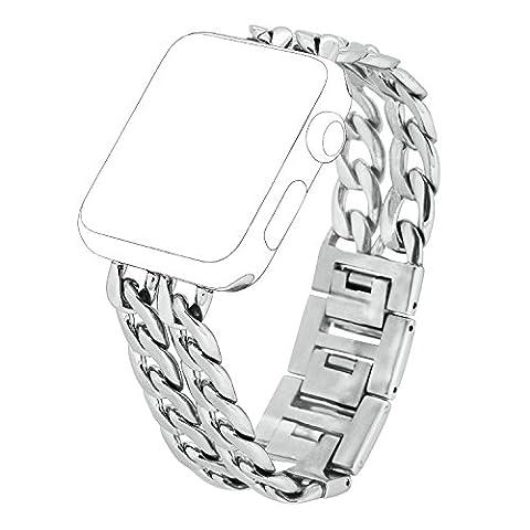 Apple Watch Armband, PUGO TOP Solides Edelstahl Cowboy Art Gliederarmband