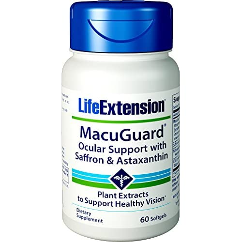 51teBnZNLyL. SS500  - Life Extension MacuGuard Ocular Support with Saffron & Astaxanthin, 60 softgels 01993