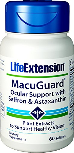 51teBnZNLyL - Life Extension MacuGuard Ocular Support with Saffron & Astaxanthin, 60 softgels 01993